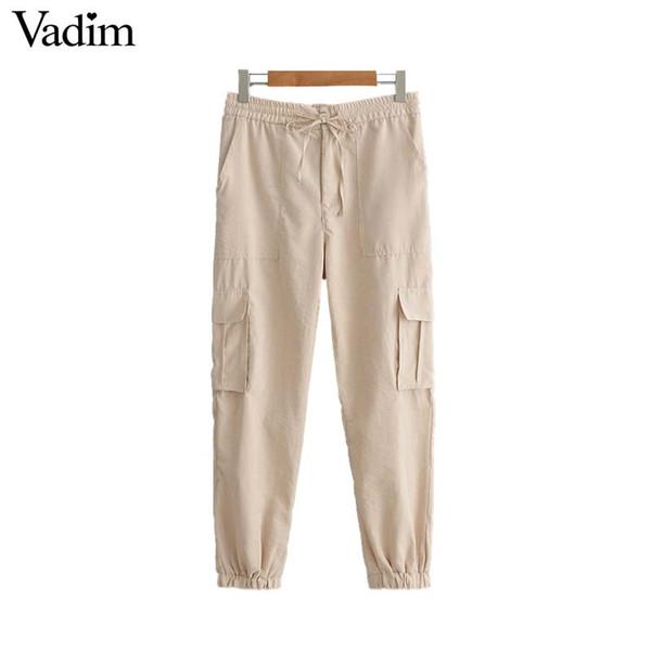 Vadim kadınlar katı kargo uzun pantolon elastik bel cepler süslemeleri papyon fermuar fly tasarım kadın gündelik giyim pantolon KA929