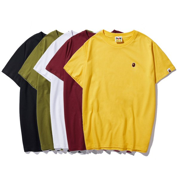 Männer T-shirt 2019 Sommer Lässige Mode Atmungsaktive Anti-Shrink Stickerei Schnell Trocknend T-shirt Baumwollmischung Größe M-XXXL