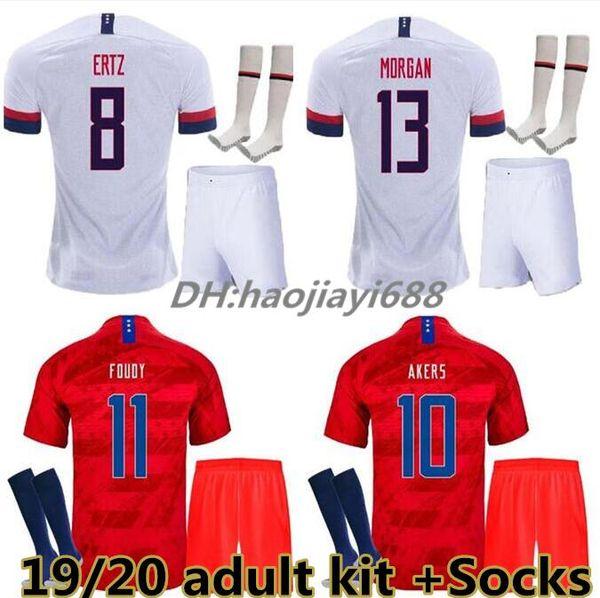 Adult Kit + Socken 2018 2019 USA PULISIC Fußball Trikot 18 19 DEMPSEY BRADLEY ALTIDORE MORGAN America Fußball Trikots United States Shirt