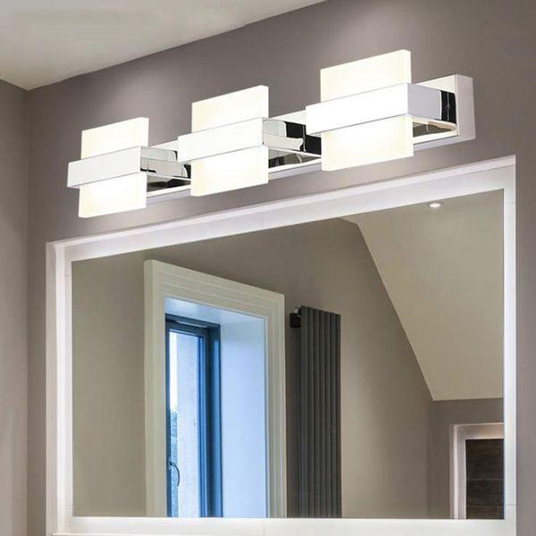 Acheter Moderne Led Miroir Eclairage Salle De Bains Decor A La Maison Mur Lampe Etanche En Acier Inoxydable Applique 110v 220v Maquillage Vanity