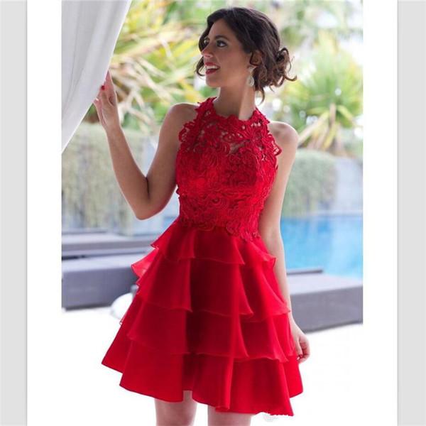 2018 Abiti da ritorno in organza rosso sexy Mini abiti da cocktail in pizzo con increspature corte in pizzo Abito personalizzato da homecoming in gioiello