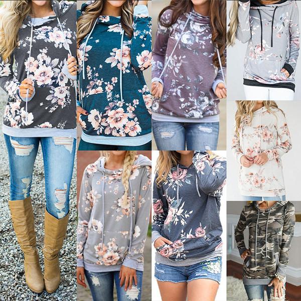 top popular Women Floral pocket Hoodies Tops Long Sleeve Drawstring Hooded Pullover Sweatshirt outwear coat Autumn Winter hoodie LJJA3043 2020