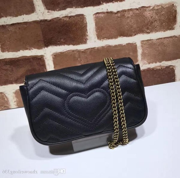 Calidad superior de lujo diseño de la celebridad Mini corazón Cluth Marmont bolsa de hombro mujeres cuero genuino Crossbody bolsa de mensajero cadena 476433