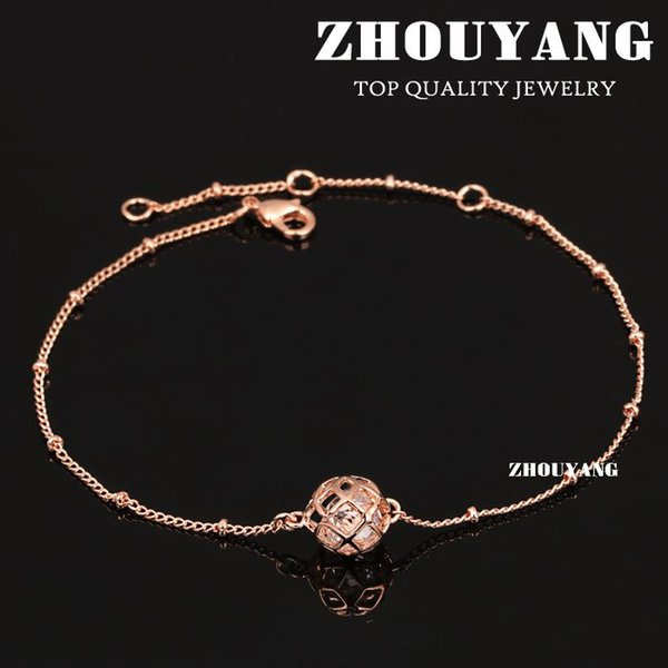 Top Quality ZYA026 Hollow Out Ball Rose Gold Color Anklets Jewelry Austrian Crystals Wholesale