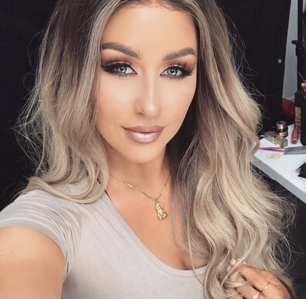 Honrin Hair Lace Front Human Hair Wig Ombre Blonde Wavy 150% Density Body Wave Brazilian Virgin Hair Pre Plucked Bleached Knots