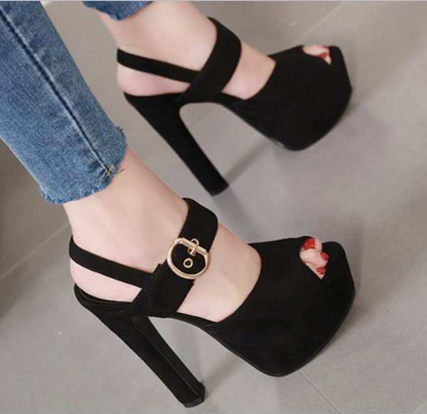 Ladies Dress Shoes And Sandals Black Suede High Heels Summer Ankle Buckle Sexy Women Heels 15cm Platform Shoes