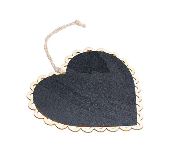 top popular 15x16cm Wooden Hanging Blackboard with Hemp String Love Heart Chalkboard Luggage Label Message Board Hang Tag Welcome Sign Board 2021