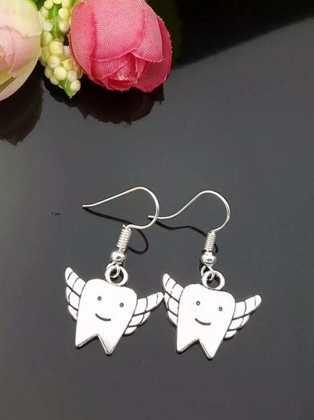 sport HOT-Fashion Jewelry-Earrings-Alloy-Doctors gift-Tooth Fairy-Charm-Drop Earrings-Pendant-Tibetan silver-for woman gift-05 bag racke...
