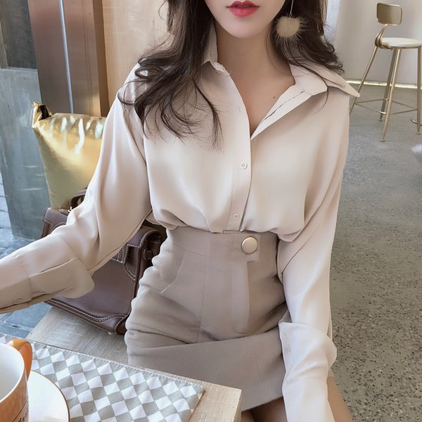 Blouses Woman 2019 Spring Summer Shirt Women Long Sleeve Solid Korean Style Lady Formal Office Work Roupas Feminina Plus Size