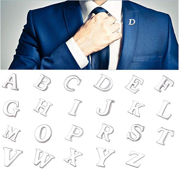 Silver 26 Alphabet Brooch Ball Cap Hat Letter Pins Boys Monogram Shirt Collar Brooches Mens Business Suit Tie Lapel Pin