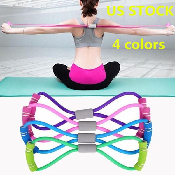 top popular US STOCK 8-shaped Rally TPE Yoga Gel Fitness Resistance Chest Rubber Fitness Rope Exercise Muscle Band Exercise Elastic FY7033 2021