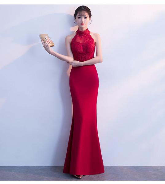 Halter Vermelho Pescoço Cetim Sereia Vestido de Dama de honra com Apliques de Renda Sem Encosto Longo Formal Vestidos de Festa À Noite