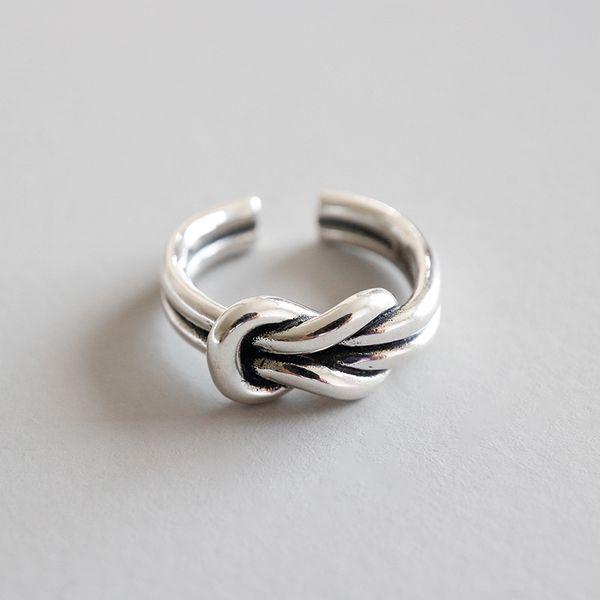 A estrenar 925 joyas de plata esterlina Vintage americano hecho a mano diseñador antiguo plata nudo anillos para hombres mujeres envío gratis
