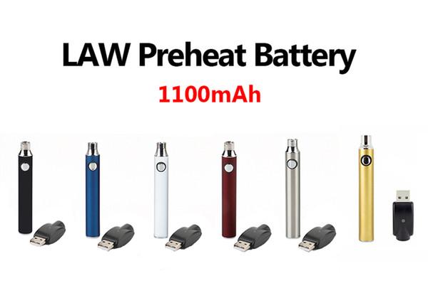 Vertex LAW VV Vorwärmen der Batterie Vape Pen 1100mAh Blister-Kits Bud Touch Variable Voltage Mit USB-Ladegerät Fit 510 Zerstäuber