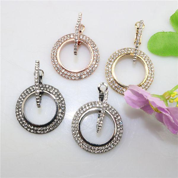 Kendra style 925 silver needle rhinestone big circle long retro earrings Europe and America exaggerated fashion pendant earrings female