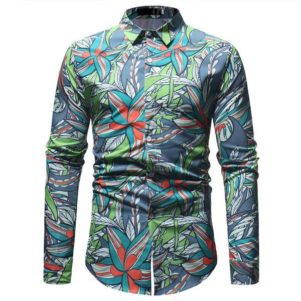 Floral Shirts Men Vintage Flowers Printed Blouse Mature Man Elegant Party Wear Slim Tops Summer New Business Casual Social Shirt