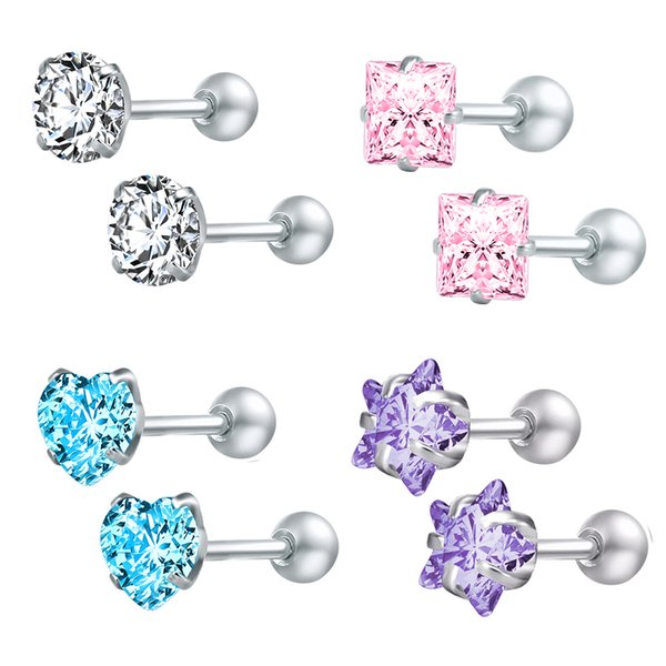 ZS 4pairs/lot Crystal Stud Earrings for Women Stainless Steel Round Earring Screw Ball Star Children Earrings boucle d'oreille