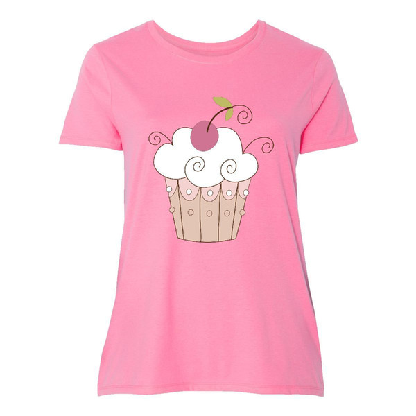 Inktastic Cupcake Pink With Cherry Women's Plus Size T-Shirt Sweet Cute CupcakesFunny free shipping Unisex Casual Tshirt top