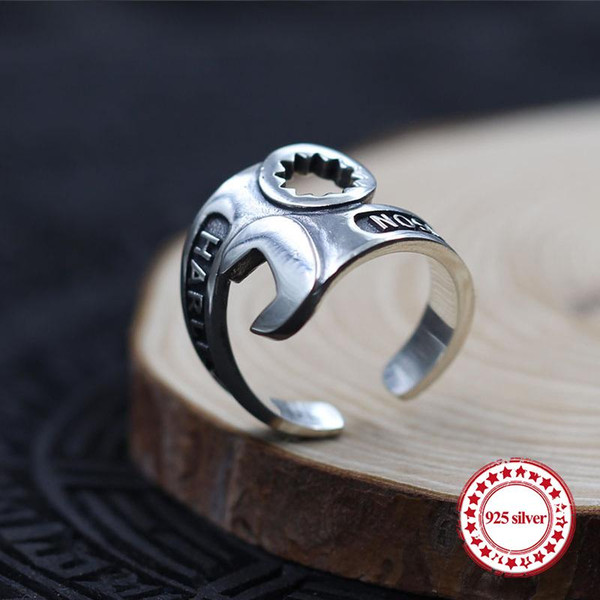 s925 sterling silver men's ring personalized classic vintage fashion wrench style jewelry gift to send lover 19 years hot
