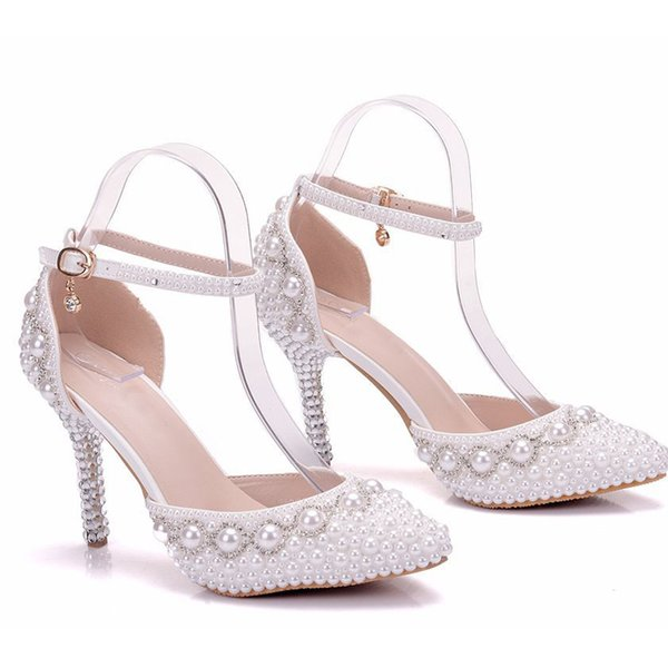 Spitz Weiße Perle Hochzeit Brautschuhe Knöchelriemen Braut Kleid Schuhe Sommer Sandalen Schnelle Versand Dame Party High Heels