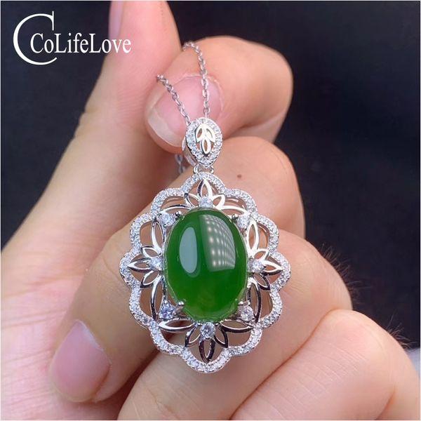 CoLife Takı Çin Stil Jasper kolye Partisi 12 * 16mm Doğal Jasper gümüş kolye 925 gümüş Green Jade Takı