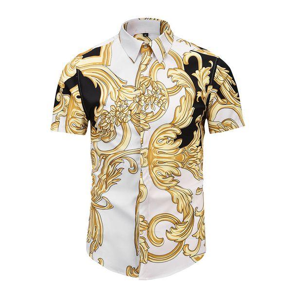 New 2019 summer Autumn Harajuku Medusa gold chain/Dog Rose print Men shirts Fashion Retro Men's Short sleeve tops shirts Asian size
