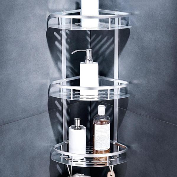 1/2/3 Camada de banho Canto Shampoo Soap Cosmetic Basket Titular Duche prateleira de armazenamento de alumínio triangular rack de armazenamento Organizer