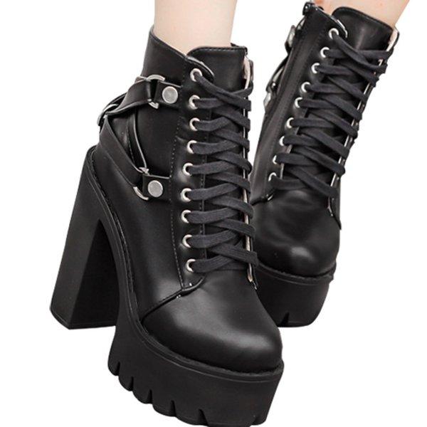 Botas de cuero negras mujer,botines negros mujer plataforma