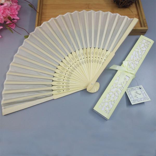 Chinesische Seide, die luxuriöse Seide faltet, falten Handventilator in der eleganten Laser-Schnitt Geschenkbox-Gastgeschenke Hochzeitsgeschenke