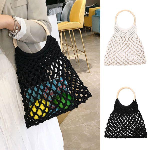 Moda Mujer Retro Weave Hollow Out Bucket Bag Travel Beach Bag Handle