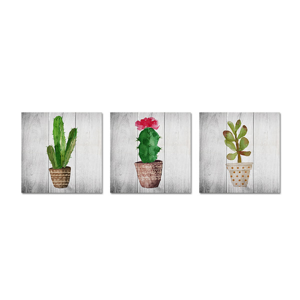 Unframed 3 pezzi Green Wall Art Acquerello Cactus Fiore Piante tropicali Stampe su tela moderna Vita semplice