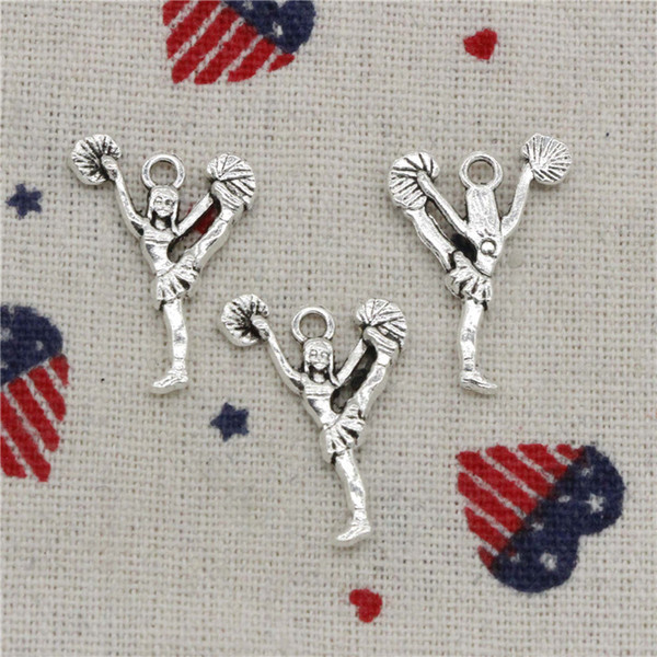 250pcs Charms cheerleaders cheering dance 26*17mm Pendant, Tibetan Silver Pendant,For DIY Necklace & Bracelets Jewelry Accessories