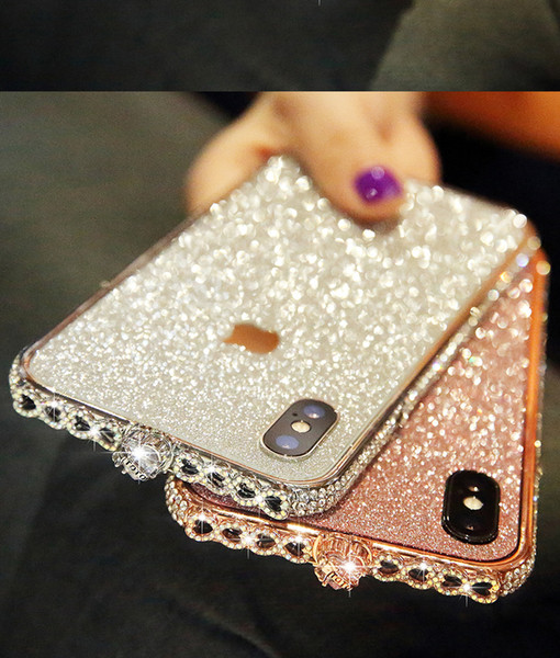 For iPhone X XS 8 7 6 plus Metal Frame Case Luxury Aluminum Metal Bumper With Glitter Sticker Film Diamond Rhinestone Shinning