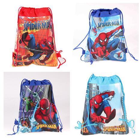 Atacado lote Dos Desenhos Animados Spiderman criança Desenhar Corda PE Saco de Escola Crianças Menino Meninas Mochila Natação Kit S009