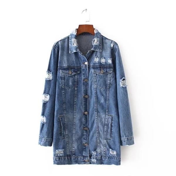 Denim Jackets Women Hole Boyfriend Style Long Sleeve Vintage Jean Jacket Denim Loose Spring Autumn Denim Coat Casual Jean
