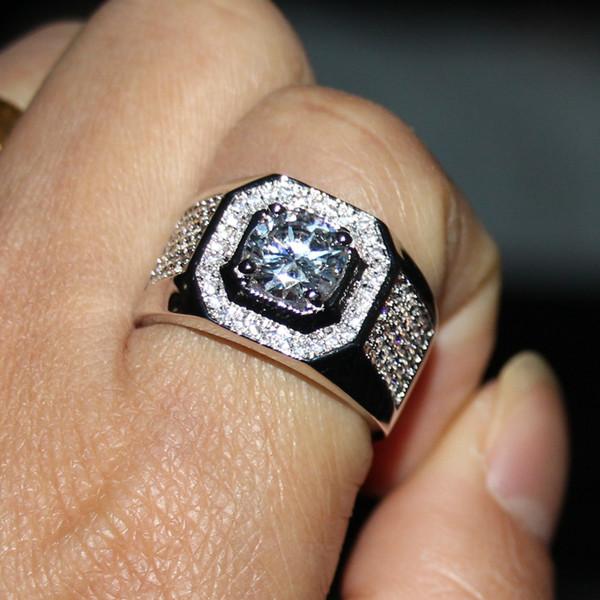 USpecial 2019 Tamanho 7-13 Solitaire Jóias de Luxo 10kt ouro branco cheio GF topázio simulado diamante homens banda casamento anel de noivado