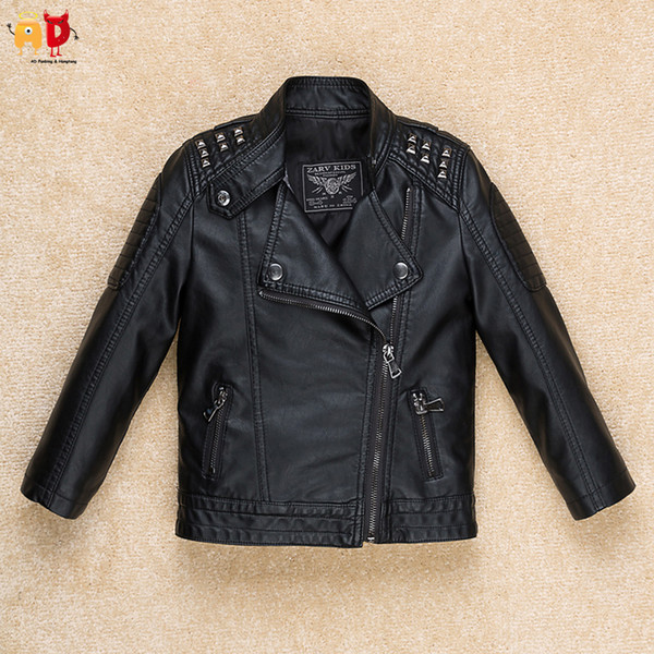 good quality Cool Rivet Shoulder Boys Leather Jacket Girls PU Coat Children's Clothing Clothes for Spring Quality Soft