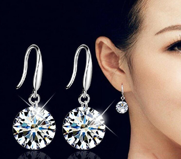 925 Sterling Silver Bridal Crystal Drop Earrings 8mm Classic Shiny Jewelry Wedding Accessories Rhinestone Earrings For Bride Women Girls F29