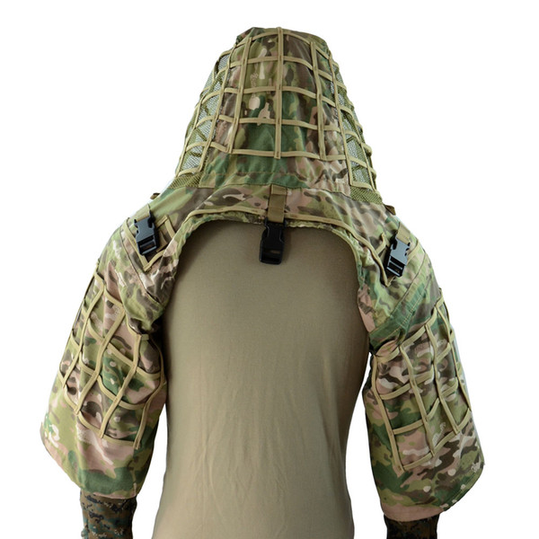 CS Wargame Sniper Hunting Ghillie Suit Foundation Ripstop Fabric Camouflage Tactical Sniper Coat Viper Hoods 4 Colors