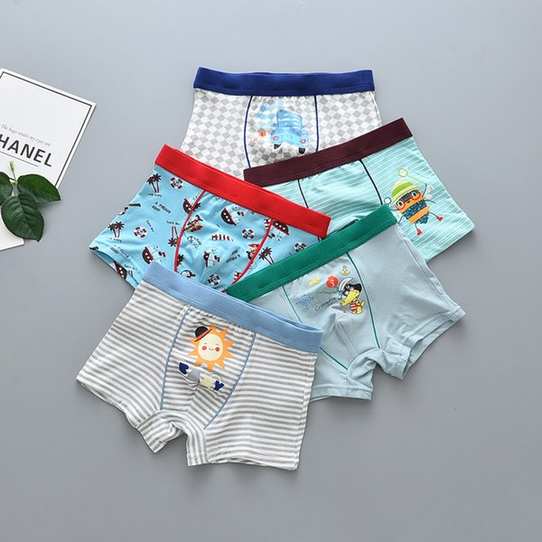 15Pcs Lot Boys Artwork print Children's underwear boxers kids underpants Suitable for 2 years to 12 year old boys flat thin panties S19JS165