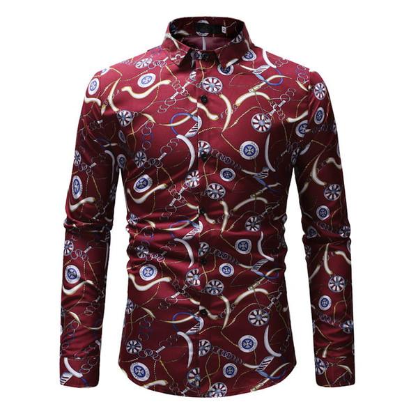 Nueva primavera de los hombres camisas casuales de moda de manga larga de la marca impresa Button-Up formal de negocios de lunares floral hombres camisa de vestir M-3XL