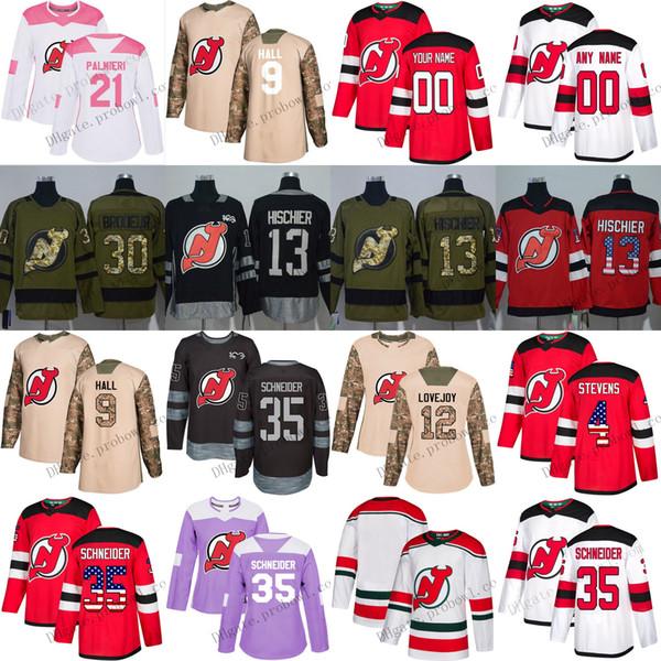 Custom New Jersey Devils Jersey 9 Taylor Hall XS-6XL 13 Nico Hischier 30 Martin Brodeur 35 Cory Schneider Red Hockey Jerseys White Pink