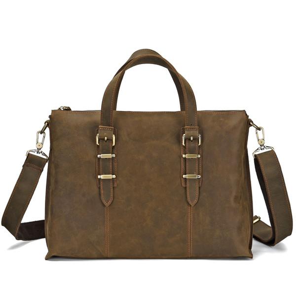 Business Echtes Leder Herren Aktentasche Retro Aktentasche Männer Handtasche Laptoptasche Männer Querschnitt / Vertikalschnitt Kaffee
