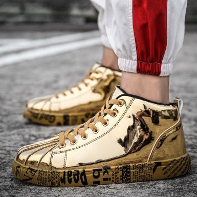 Homem da moda Prata e ouro brilho de couro de Patente brilhante Respirável Sapatos Casuais dos homens Adultos Sapatos Baixos Sapatos Confortáveis Unisex