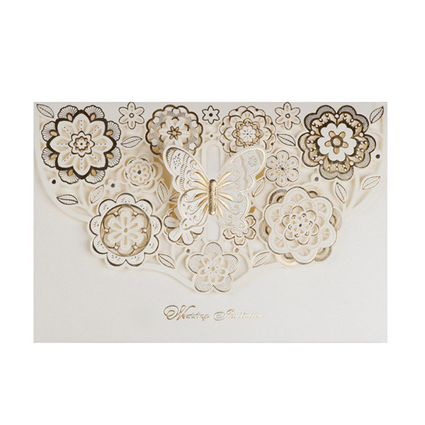 top popular Wedding Invitation Cards 2021 New Hollow Gold Stamping Butterfly Free Printable Cards Unique Wedding Invites Dropship Wedding Favors 2021