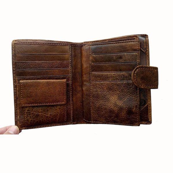 Großhandel-Vintage Passport Wallet Cover Echtes Leder Herren Reisebrieftaschen Rindsleder Geldbörse Männlichen Kartenhalter Geldbörse Tasche Muster Geld