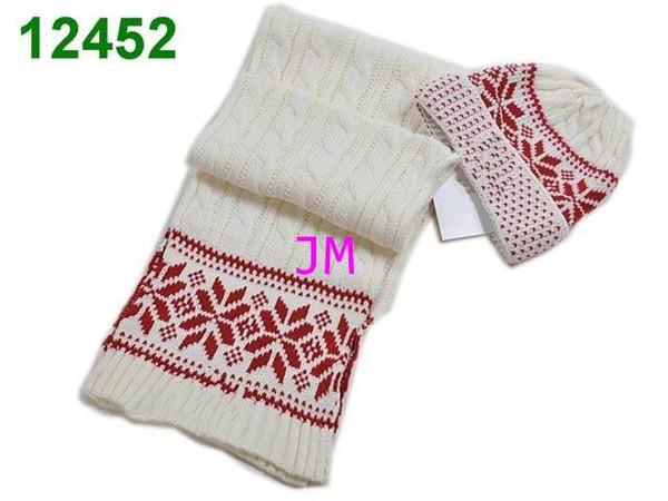 2018 newest luxury knitting hats fashion cheap maple leaf pattern strips Beanie cap men's women's winter warm hats and Scarves Sets