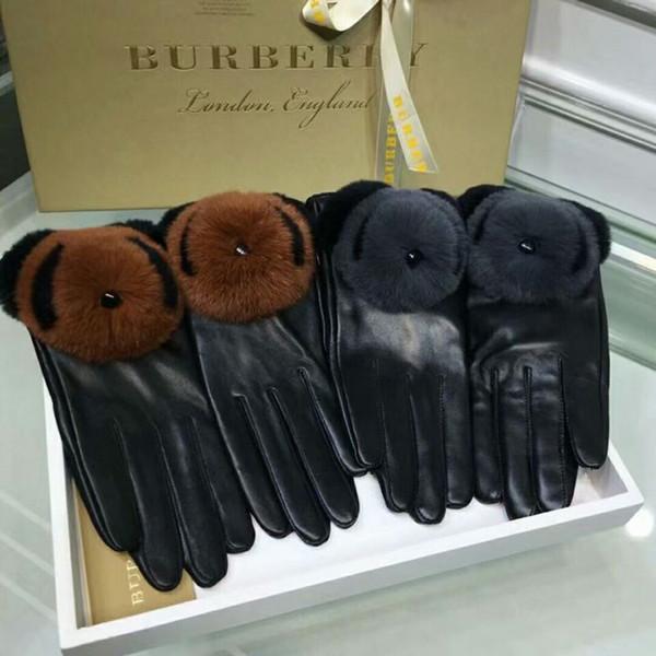 Guanti in pelle di marca per donna, guanti caldi e autunnali per l'inverno e l'inverno guanti in pelliccia di coniglio calda antivento