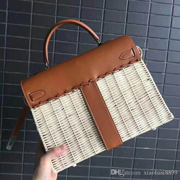 Women cowhide Bamboo weaving Totes fashion Cross Body Classic top best quality 32cm 100% hand-made Swift Patchwork genuine leather handbag