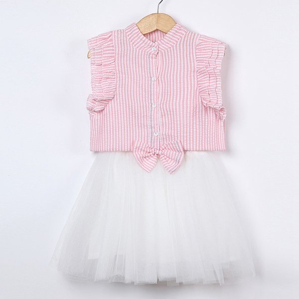 Infant Summer Boutique skirt new design girl suit Seersucker flying sleeve shirt + bow waist skirt Girls Clothing Set